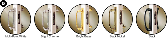 Various door handle finishes